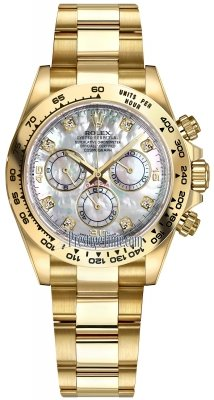 Rolex Cosmograph Daytona Yellow Gold 116508 White MOP Diamond Oyster