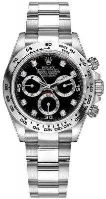 Rolex Cosmograph Daytona White Gold 116509 Black Diamond Oyster
