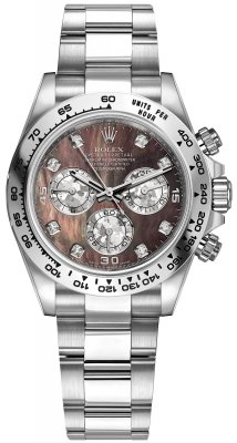 Rolex Cosmograph Daytona White Gold 116509 Black MOP Gold Crystals Diamond Oyster
