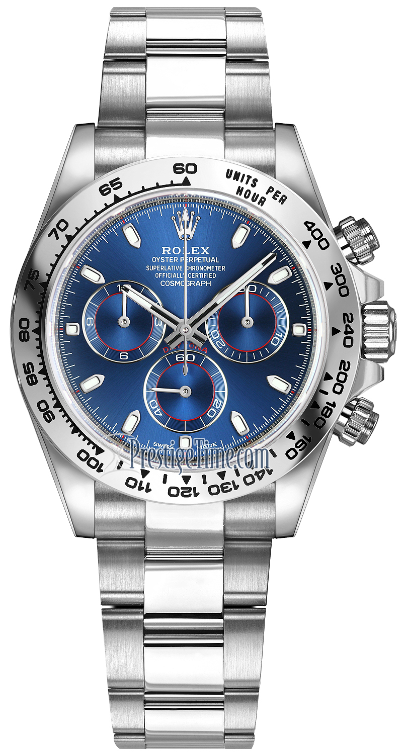 116509 Blue Index Oyster Rolex Cosmograph Daytona White Gold Mens Watch