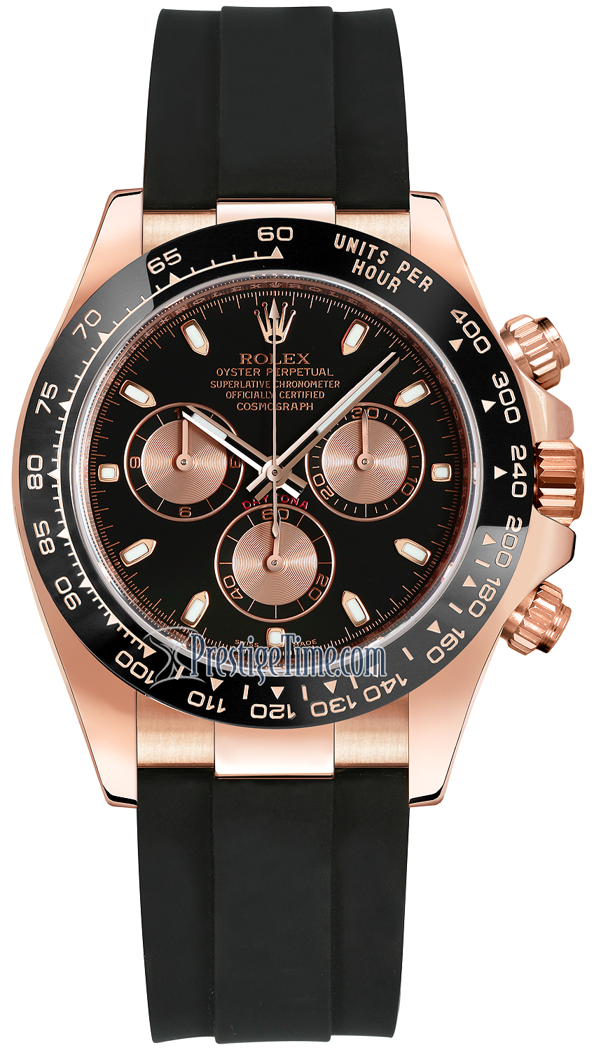 Rolex Cosmograph Daytona Everose Gold 116515LN Black and Pink Oysterflex