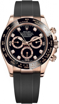 Rolex Cosmograph Daytona Everose Gold 116515LN Black Diamond Oysterflex