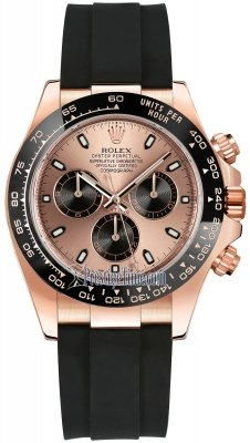 Rolex Cosmograph Daytona Everose Gold 116515LN Pink and Black Oysterflex