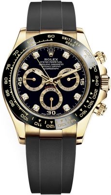 Rolex Cosmograph Daytona Yellow Gold 116518LN Black Diamond Oysterflex