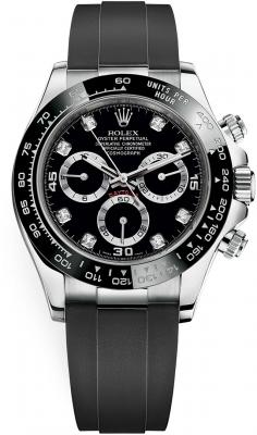 Rolex Cosmograph Daytona White Gold 116519LN Black Diamond Oysterflex