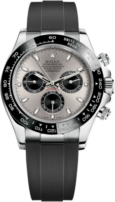 Rolex Cosmograph Daytona White Gold 116519LN Steel and Black Oysterflex