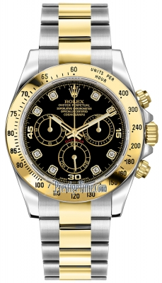 Rolex Cosmograph Daytona Steel and Gold 116523 Black Diamond