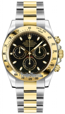 Rolex Cosmograph Daytona Steel and Gold 116523 Black Index