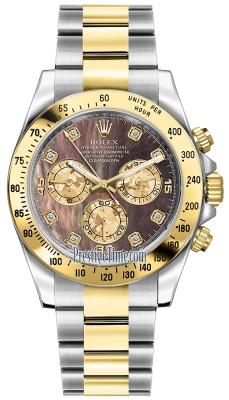 Rolex Cosmograph Daytona Steel and Gold 116523 Black MOP Diamond
