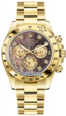 Rolex Cosmograph Daytona Yellow Gold 116528 Black MOP Diamond