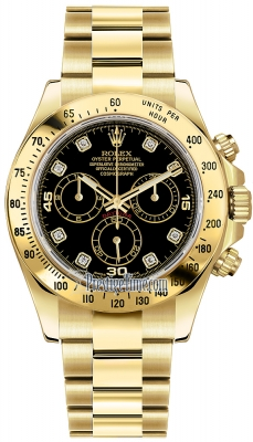 Rolex Cosmograph Daytona Yellow Gold 116528 Black Diamond