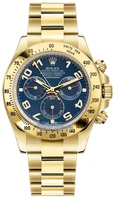 Rolex Cosmograph Daytona Yellow Gold 116528 Blue Arabic