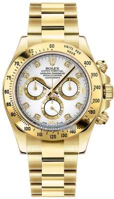 Rolex Cosmograph Daytona Yellow Gold 116528 White Diamond