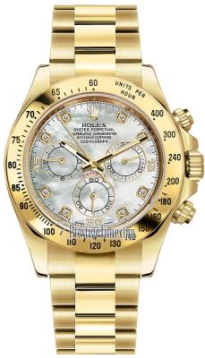 Rolex Cosmograph Daytona Yellow Gold 116528 White MOP Diamond