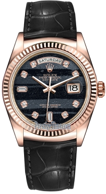 Rolex Day-Date 36mm Everose Gold Fluted Bezel 118135 Ferrite Diamond Leather
