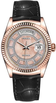 Rolex Day-Date 36mm Everose Gold Fluted Bezel 118135 Pink MOP Carousel Diamond Leather