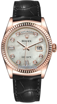 Rolex Day-Date 36mm Everose Gold Fluted Bezel 118135 White MOP Oxford Diamond Leather