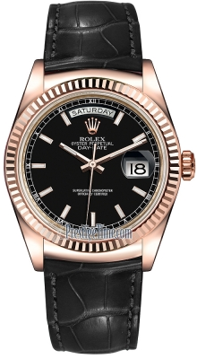 Rolex Day-Date 36mm Everose Gold Fluted Bezel 118135 Black Index Leather