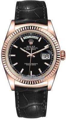 Rolex Day-Date 36mm Everose Gold Fluted Bezel 118135 Black Index Leather