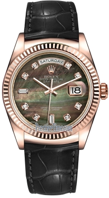 Rolex Day-Date 36mm Everose Gold Fluted Bezel 118135 Black MOP Diamond Leather