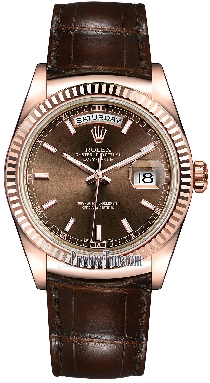 Rolex Day Date 36mm Everose Gold Fluted Bezel 118135 Chocolate Index Leather