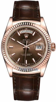 Rolex Day-Date 36mm Everose Gold Fluted Bezel 118135 Chocolate Index Leather