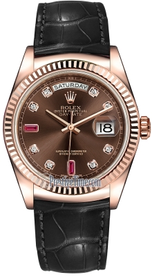 Rolex Day-Date 36mm Everose Gold Fluted Bezel 118135 Chocolate Diamond Ruby Leather