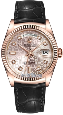 Rolex Day-Date 36mm Everose Gold Fluted Bezel 118135 Pink Jubilee Diamond Leather