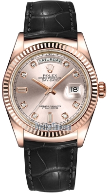 Rolex Day-Date 36mm Everose Gold Fluted Bezel 118135 Pink Diamond Leather