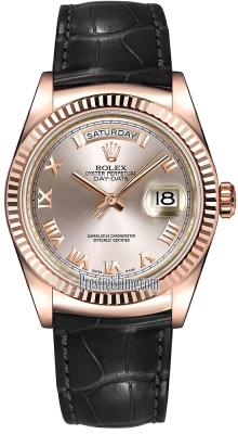 Rolex Day-Date 36mm Everose Gold Fluted Bezel 118135 Pink Roman Leather