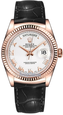 Rolex Day-Date 36mm Everose Gold Fluted Bezel 118135 White Roman Leather