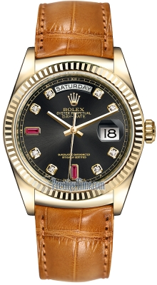 Rolex Day-Date 36mm Yellow Gold Fluted Bezel 118138 Black Diamond Ruby Leather