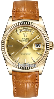 Rolex Day-Date 36mm Yellow Gold Fluted Bezel 118138 Champagne Index Leather