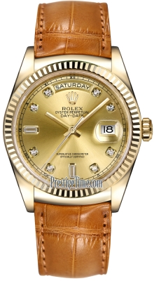 Rolex Day-Date 36mm Yellow Gold Fluted Bezel 118138 Champagne Diamond Leather