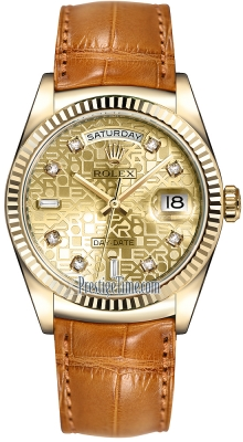 Rolex Day-Date 36mm Yellow Gold Fluted Bezel 118138 Champagne Jubilee Diamond Leather
