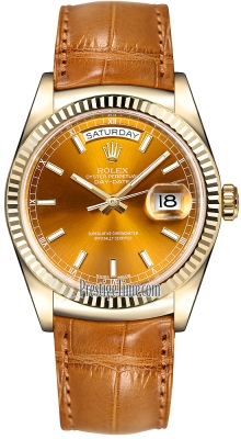 Rolex Day-Date 36mm Yellow Gold Fluted Bezel 118138 Cognac Index Leather