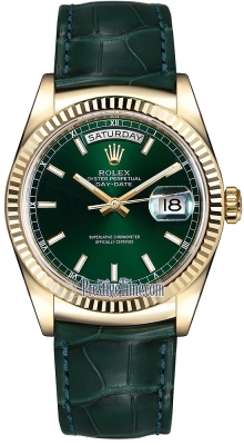 Rolex Day-Date 36mm Yellow Gold Fluted Bezel 118138 Green Index Leather