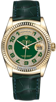 Rolex Day-Date 36mm Yellow Gold Fluted Bezel 118138 Green Pave Diamond Arabic Leather