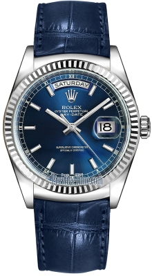 Rolex Day-Date 36mm White Gold Fluted Bezel 118139 Blue Index Leather