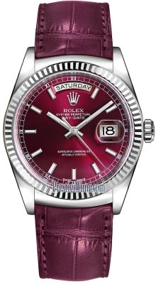 Rolex Day-Date 36mm White Gold Fluted Bezel 118139 Cherry Index Leather