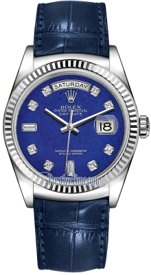 Rolex Day-Date 36mm White Gold Fluted Bezel 118139 Lapis Lazuli Diamond Leather