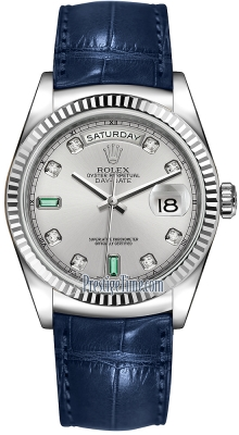 Rolex Day-Date 36mm White Gold Fluted Bezel 118139 Rhodium Diamond Emerald Leather