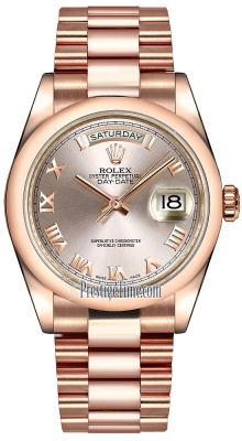 Rolex Day-Date 36mm Everose Gold Domed Bezel 118205 Pink Roman President