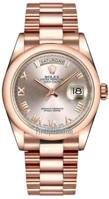 Rolex Day-Date 36mm Everose Gold Domed Bezel 118205 Pink Roman President