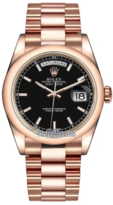 Rolex Day-Date 36mm Everose Gold Domed Bezel 118205 Black Index President