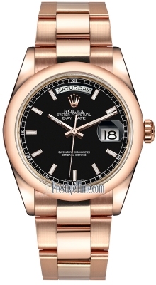 Rolex Day-Date 36mm Everose Gold Domed Bezel 118205 Black Index Oyster