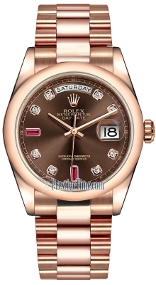 Rolex Day-Date 36mm Everose Gold Domed Bezel 118205 Chocolate Diamond Ruby President