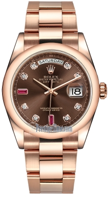Rolex Day-Date 36mm Everose Gold Domed Bezel 118205 Chocolate Diamond Ruby Oyster