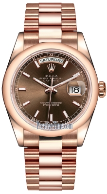 Rolex Day-Date 36mm Everose Gold Domed Bezel 118205 Chocolate Index President