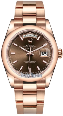 Rolex Day-Date 36mm Everose Gold Domed Bezel 118205 Chocolate Index Oyster